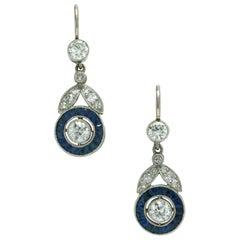 Art Deco Diamond Blue Sapphire Drop Earrings Dangle Vintage Floral Leaf Heirloom
