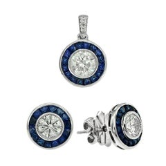 Diamond Blue Sapphire Set Pendant and Stud Earrings