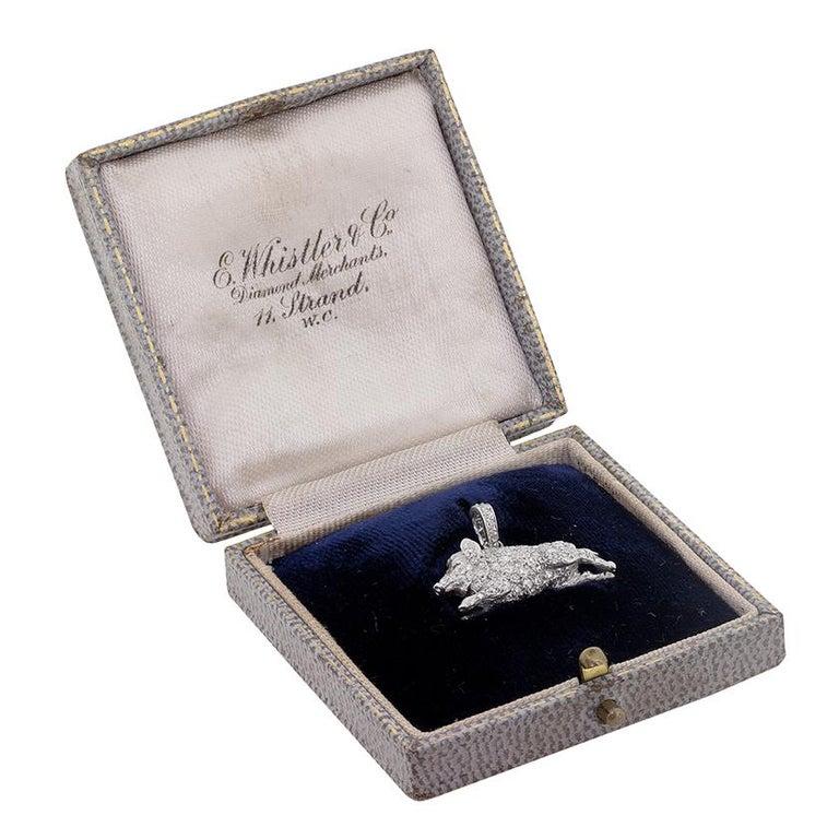 Old European Cut Art Deco Diamond Boar Pendant, circa 1920s For Sale