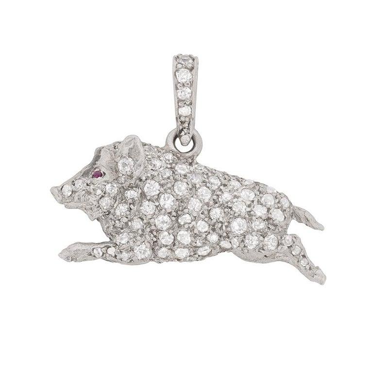 Art Deco Diamond Boar Pendant, circa 1920s For Sale