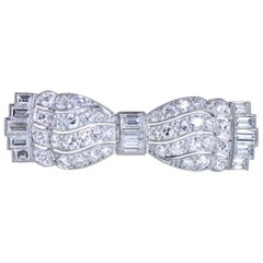 Art Deco Diamond Bow Brooch, circa 1930