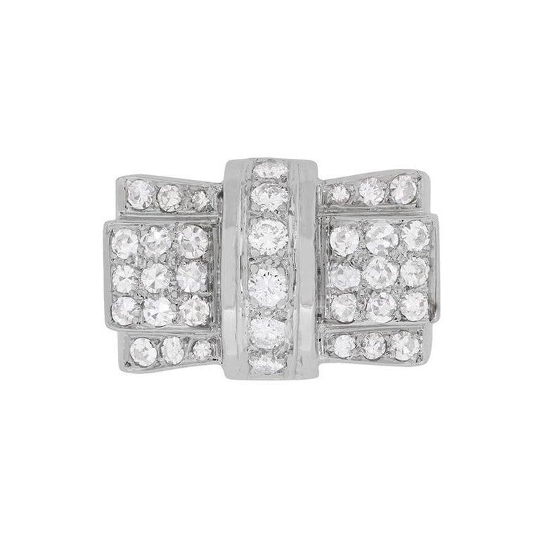 Art Deco Diamond Bow Cocktail Ring, circa 1920s