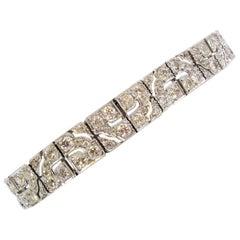 Art Deco Diamond Bracelet 8.40 Carat Old European Cut Diamonds Geometric Design