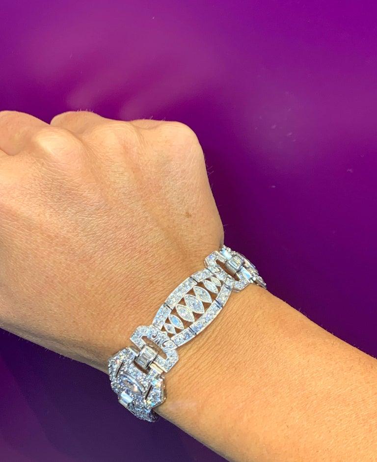 Art Deco Diamond Bracelet Mounted in Platinum  Measurements: 7