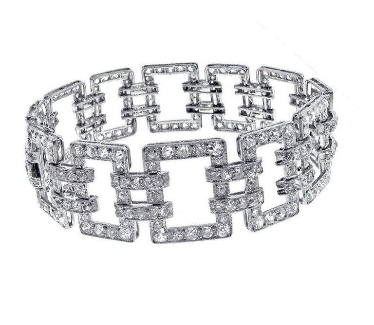 Women's Diamond Open Link Antique Edwardian Bracelet For Sale