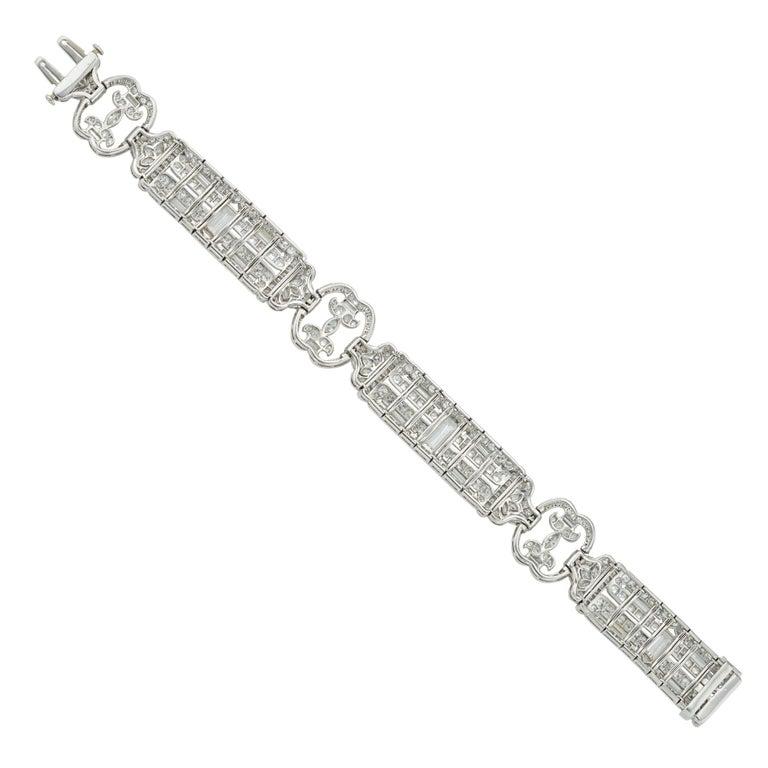 Brilliant Cut Art Deco Diamond Bracelet For Sale