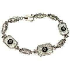 Art Deco Diamond Bracelet Frosted Rock Crystal Black Onyx White Gold Filigree