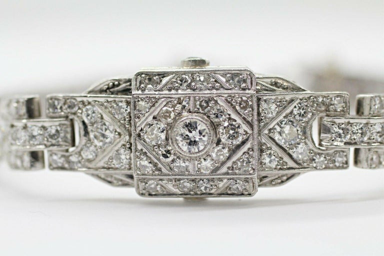 This beautiful Art-deco diamond bracelet was a watch converted to a bracelet features 151 pcs of round cut diamond in approximately 4.00 carat total weight, G color and SI2 in clarity. This bracelet crafted in 10% iridium platinum band.