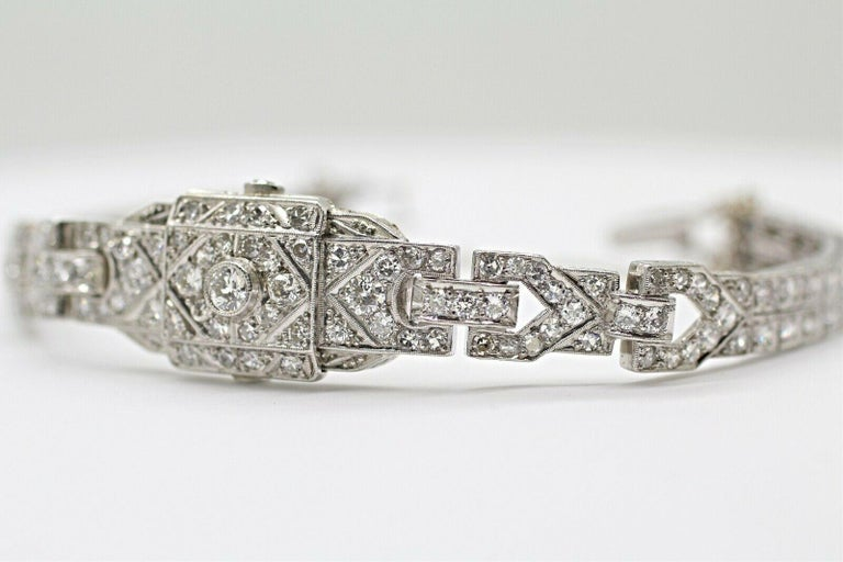Round Cut Art Deco Diamond Bracelet Was a Watch Converted to a Bracelet For Sale