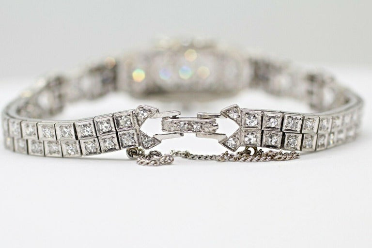 Women's or Men's Art Deco Diamond Bracelet Was a Watch Converted to a Bracelet For Sale