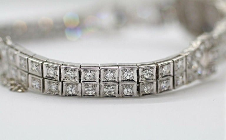Art Deco Diamond Bracelet Was a Watch Converted to a Bracelet For Sale 1