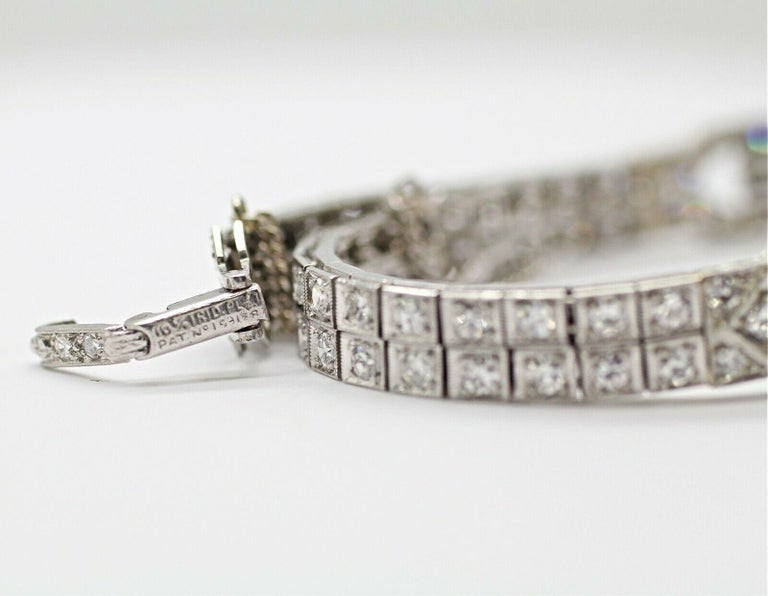 Art Deco Diamond Bracelet Was a Watch Converted to a Bracelet For Sale 2