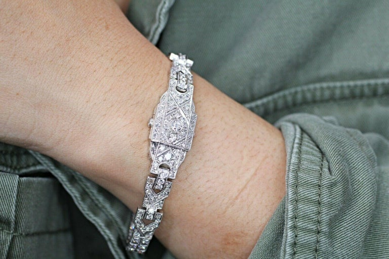 Art Deco Diamond Bracelet Was a Watch Converted to a Bracelet For Sale 3