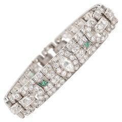 Art Deco Diamond Bracelet with Emerald