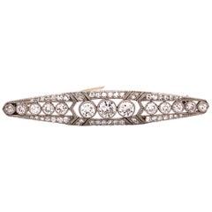 Art Deco Diamond Brooch in Platinum 950