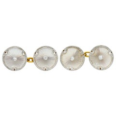 Art Deco Diamond Camphor Glass Platinum-Topped 18 Karat Gold Men's Cufflinks