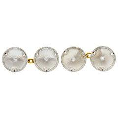 Art Deco Diamond Camphor Glass Platinum-Topped 18 Karat Gold Men's Cufflinks
