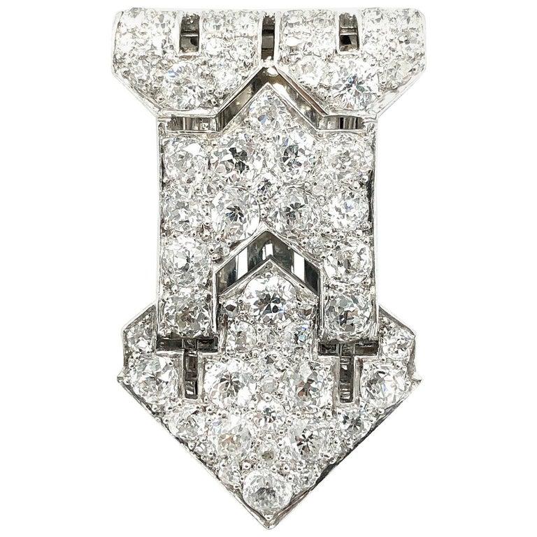 Art Deco Diamond Clip, 1920s For Sale
