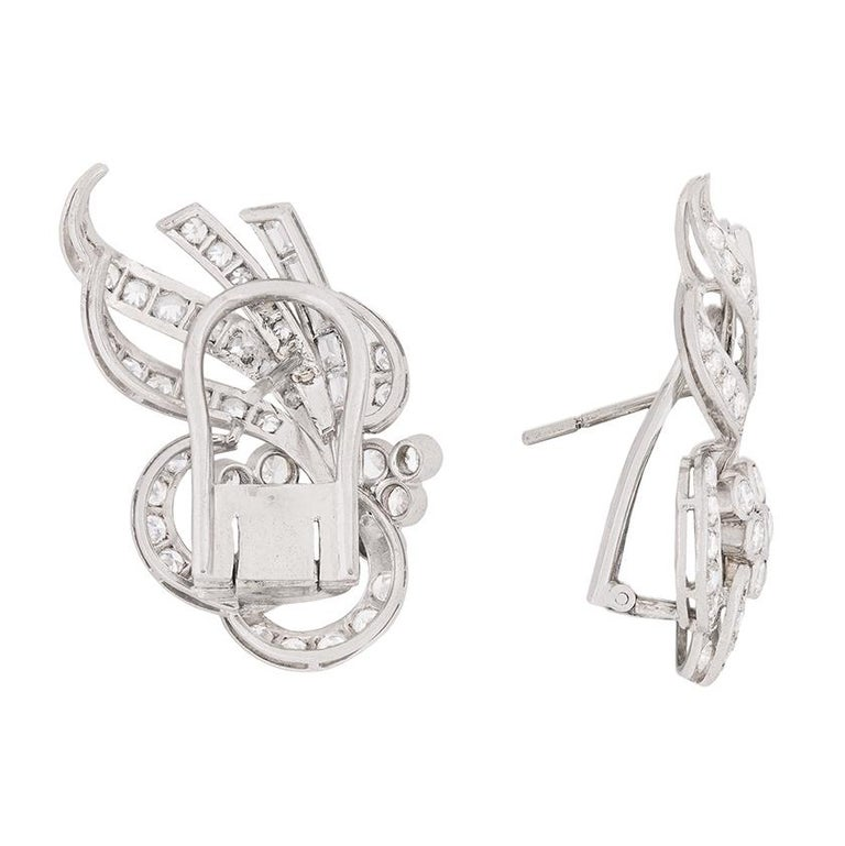 Women's or Men's Art Deco Diamond Cluster Earrings, circa 1920s For Sale