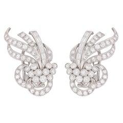Art Deco Diamond Cluster Earrings, circa 1920s