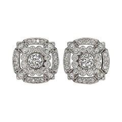 Art Deco Style Diamond Cluster Earrings