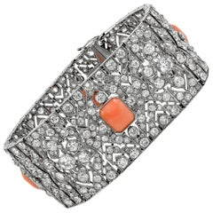 Art Deco Diamond Coral Articulated Bracelet