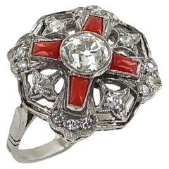 Art Deco Diamond Coral Platinum Cocktail Ring