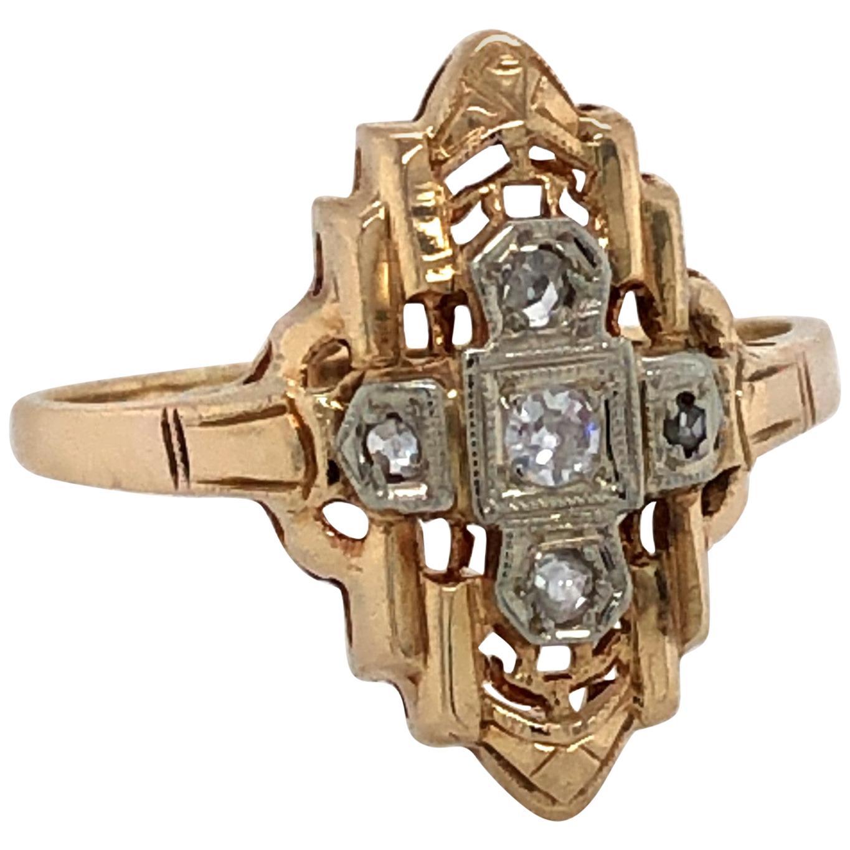 Art Deco Diamond Cross Yellow Gold Ring