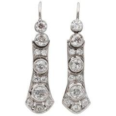 Art Deco Diamond Drop Earrings, Early 20th Century