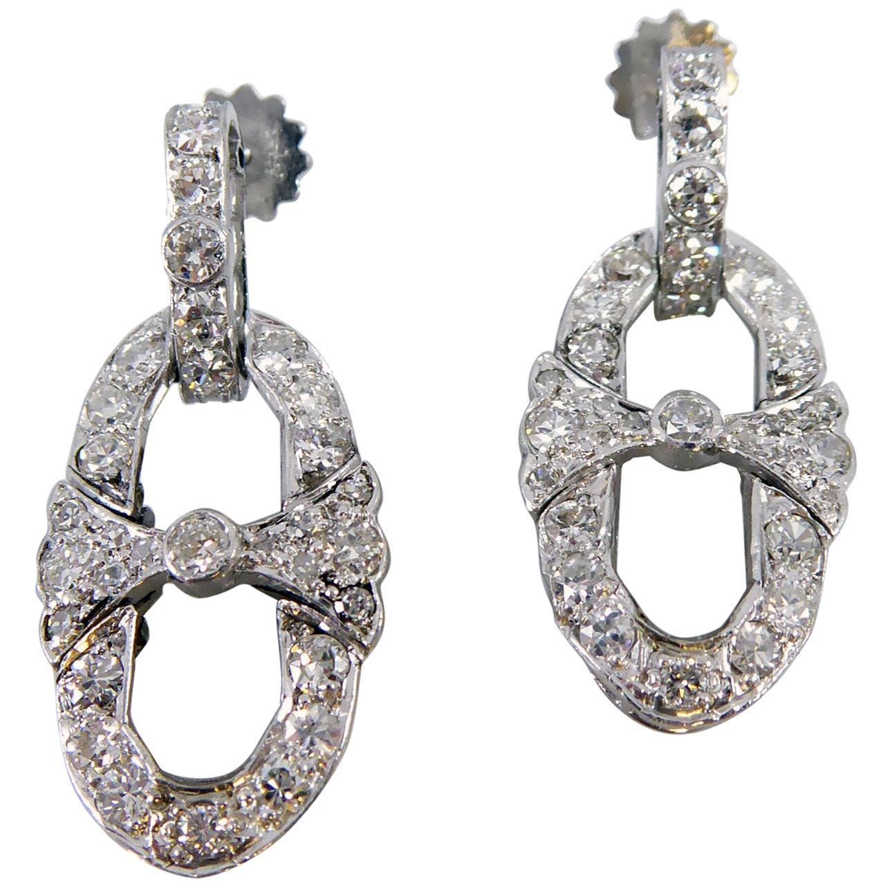 Art Deco 1.60 Carat Diamond Drop Earrings