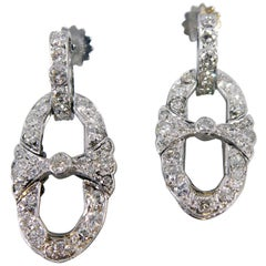 Art Deco 1.60 Carat Diamond Drop Earrings