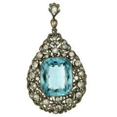 Art Deco Diamond Drop Gold Pendant