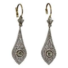 Art Deco Diamond Earrings, Gold