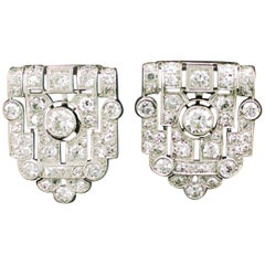 Art Deco Diamond Earrings in Platinum, circa 1930s