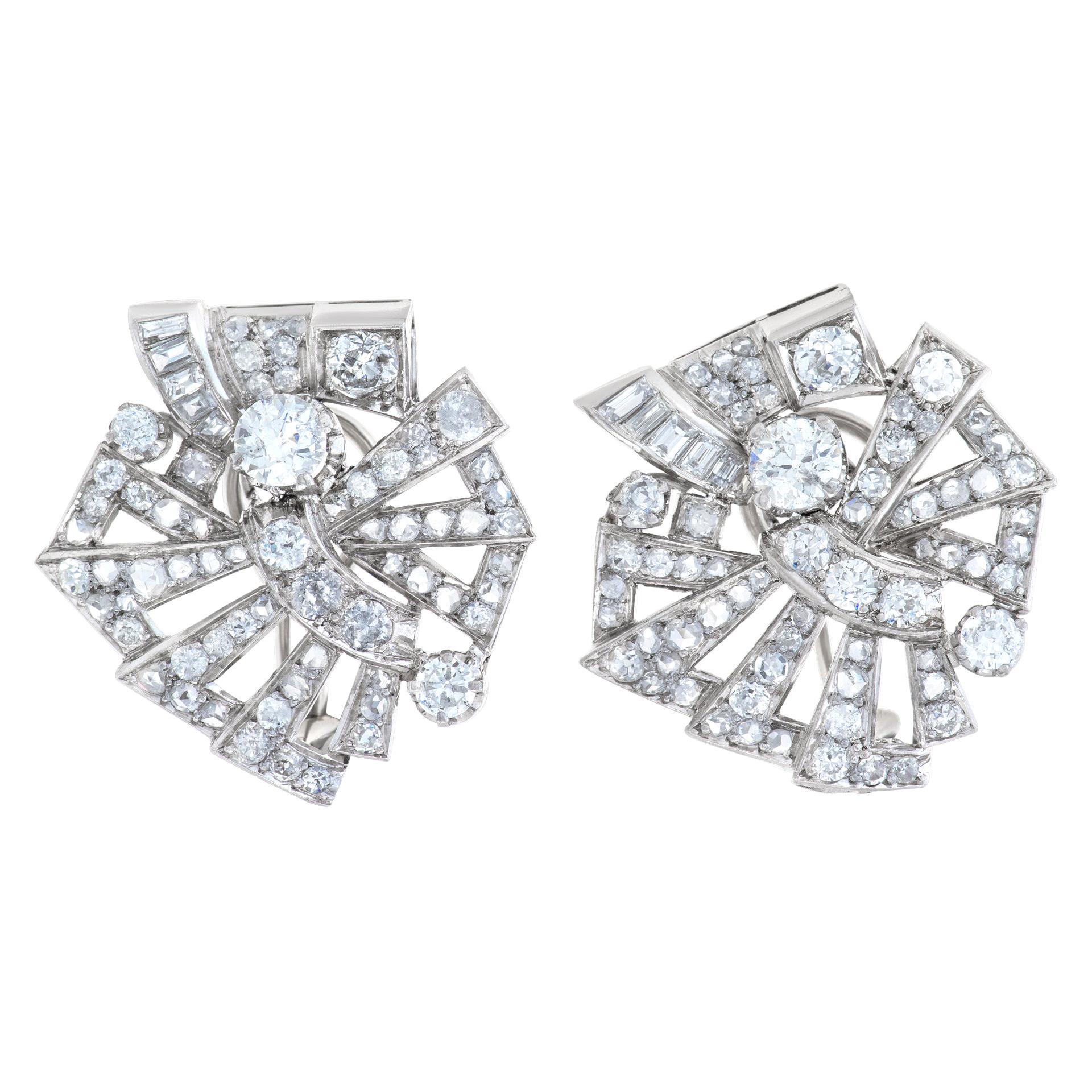 Art Deco Diamond Earrings in Platinum