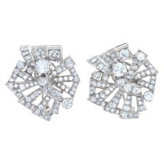 Art Deco Diamond Earrings in Platinum