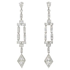 Art Deco Diamond Earrings with Baguette Frames and Kite-Shaped Pendants