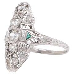 Art Deco Diamond Emerald 18 Karat White Gold Navette Ring