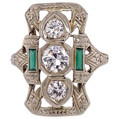 Art Deco Diamond Emerald Accent 18 Karat White Gold Filigree Cocktail Ring