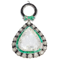 Art Deco Diamond Emerald and Black Enamel Pendant