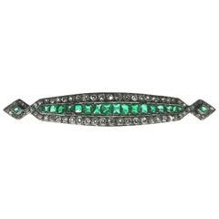 Art Deco Diamond, Emerald and Platinum Bar Brooch