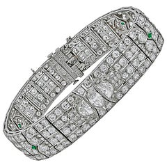 Art Deco Diamond, Emerald Bracelet