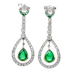 Art Deco Diamond Emerald Drop Platinum Dangling Earrings
