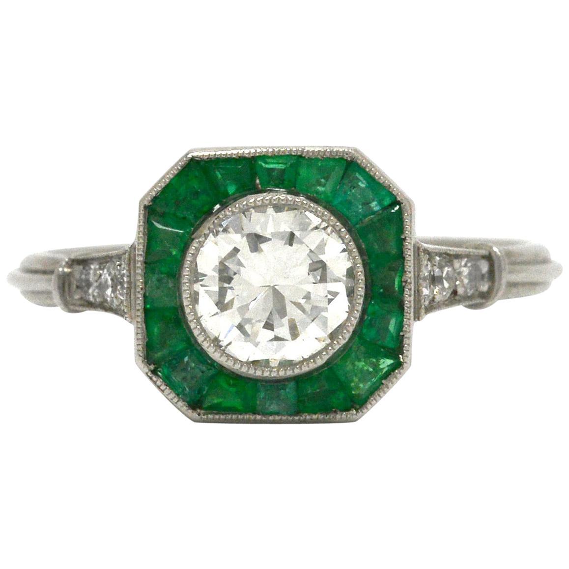 Art Deco Style Diamond Emerald Engagement Ring Octagon Halo Platinum