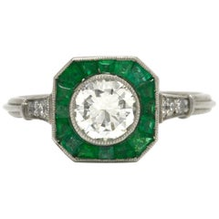 Art Deco Style Diamond Emerald Engagement Ring Octagon Halo Platinum