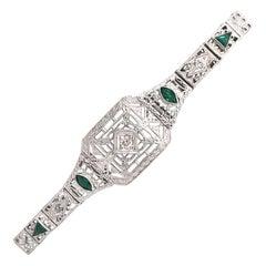 Art Deco Diamond & Emerald Filigree Bracelet