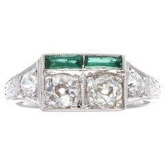 Art Deco Diamond Emerald Gold Ring