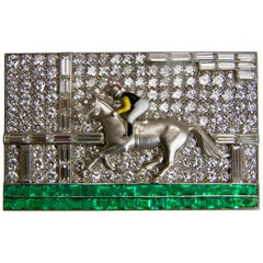 Art Deco Diamond Emerald Horse Brooch by Mayer Eliakim from Le Caire