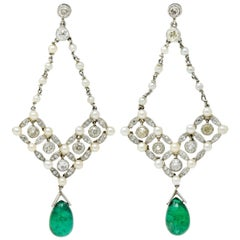 Art Deco Diamond Emerald Natural Seed Pearl Platinum Chandelier Earrings