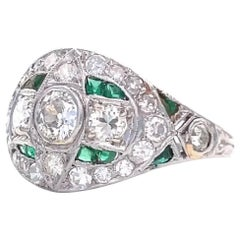 Art Deco Diamond Emerald Platinum Bombe Ring